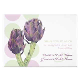 Purple Artichokes Wedding Thank You Card