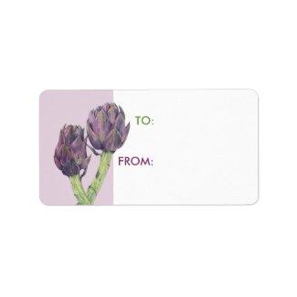 Purple Artichokes white Gift Tag zazzle_label