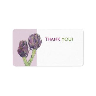 Purple Artichokes white Thank You Tag Personalized Address Label