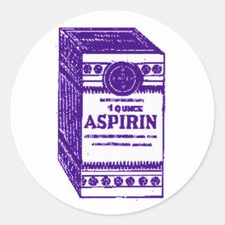 Purple Aspirin Classic Round Sticker