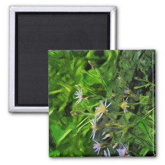 Purple Aster Among Burnt Trees Abstract Magnet
