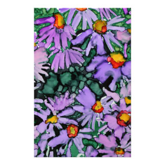 Purple Aster Flower Art Painting Custom Stationery