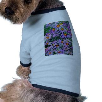 Purple Aster Flower Art Painting Pet T-shirt