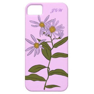 Purple Aster Flower Stem Blooms Optional Initials iPhone SE/5/5s Case