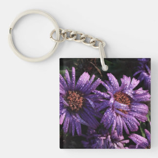 purple asters after the rain keychain