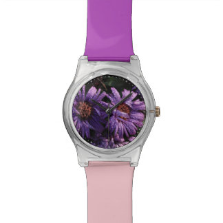 purple asters after the rain wrist watch