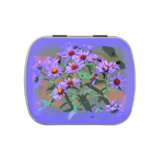 purple asters candy tin