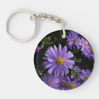 purple asters in the morning keychain