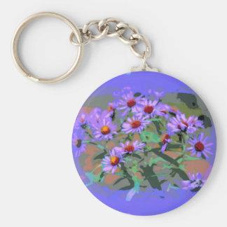 purple asters keychain