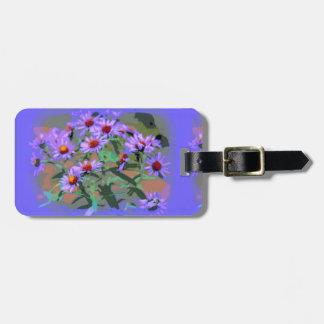 purple asters luggage tag