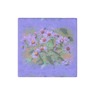 purple asters marble stone magnet