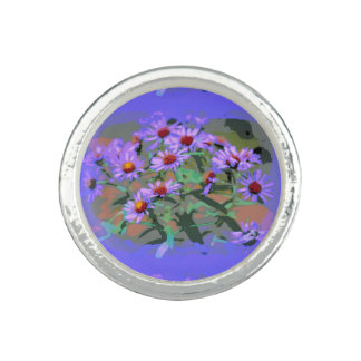 purple asters round ring
