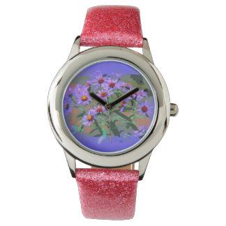 purple asters wrist watch