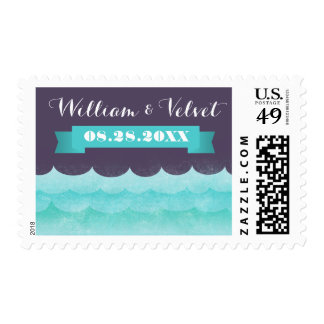 Purple At Sea Nautical Wedding Stamps