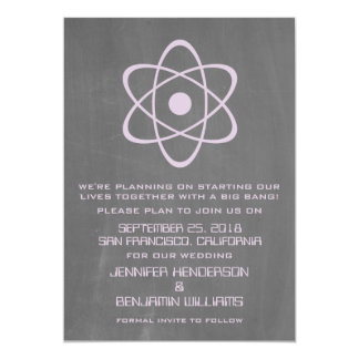 Purple Atomic Chalkboard Save the Date Invite