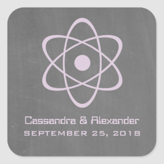 Purple Atomic Chalkboard Wedding Stickers
