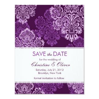 "Purple Aubergine Damask Save the Date 4.25"" X 5.5"" Invitation Card"