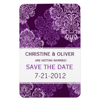 Purple Aubergine Damask Wedding Magnet