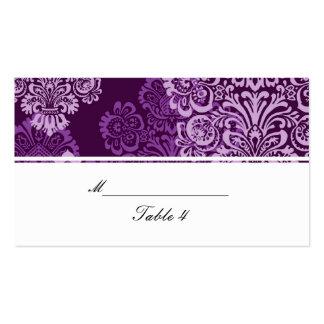 Purple Aubergine Damask Wedding Place Cards Business Card