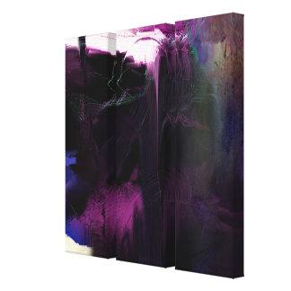 Purple Aura 2 Abstract painting 3 Panels Canvas Print