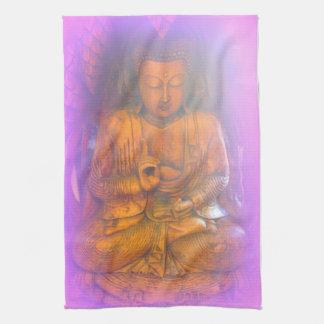 purple aura meditating buddha kitchen towel