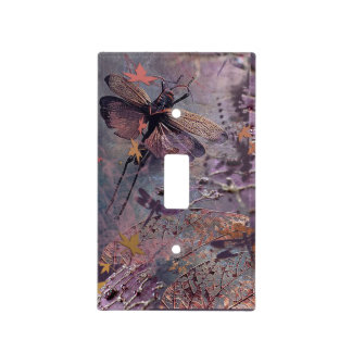 Purple Autumn Dragonfly Light Switch Cover