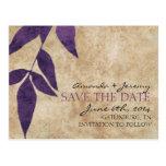 Purple Autumn Leaves Vintage Save the Date Post Card