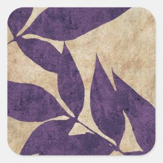 Purple Autumn Leaves Vintage Square Sticker