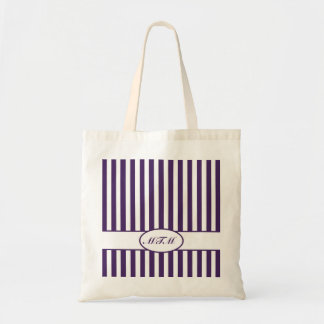 Purple Autumnal Stripes with monogram Tote Bag