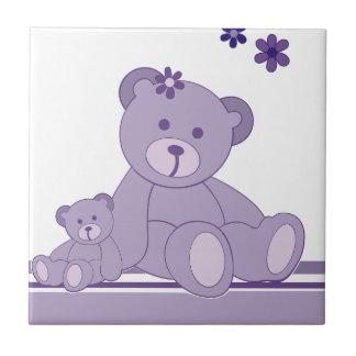 Purple Awareness Bears Small Square Tile