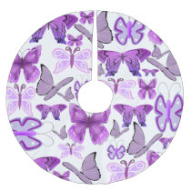 Purple Awareness Butterflies Brushed Polyester Tree Skirt