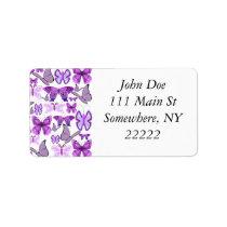 Purple Awareness Butterflies Label
