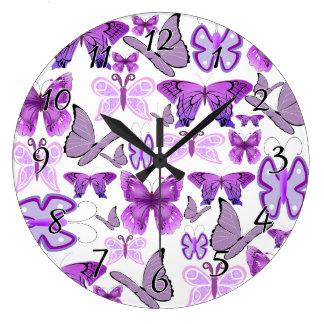 Purple Awareness Butterflies Large Clock
