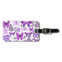 Purple Awareness Butterflies Luggage Tag