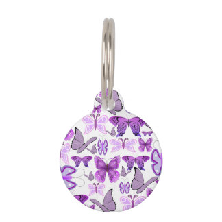 Purple Awareness Butterflies Pet ID Tag