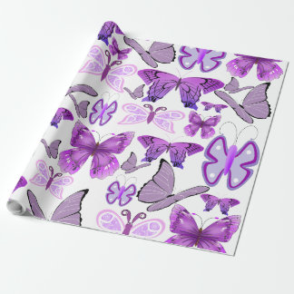 Purple Awareness Butterflies Wrapping Paper
