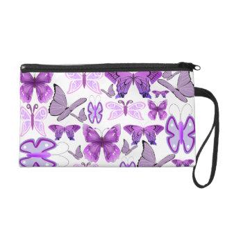 Purple Awareness Butterflies Wristlet Purse