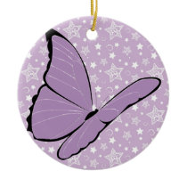 Purple Awareness Butterfly Ceramic Ornament