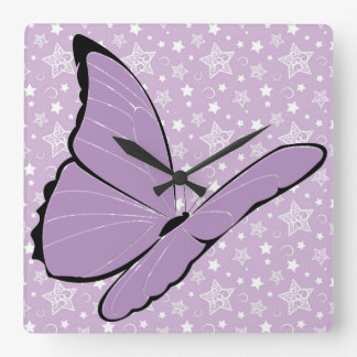 Purple Awareness Butterfly Square Wall Clock