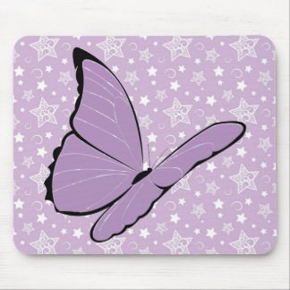 Purple Awareness Butterfly Mouse Pads