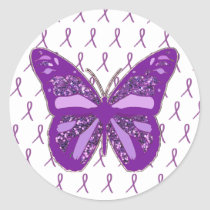 Purple Awareness Butterfly Stickers with Ribbons