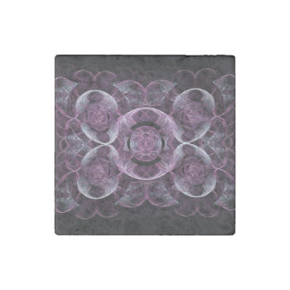 Purple Awareness Fractal Abstract Stone Magnet