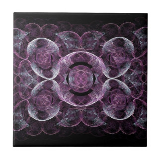 Purple Awareness Fractal Abstract Small Square Tile