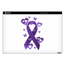 "Purple Awareness Ribbon 17"" Laptop Skins"