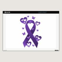"Purple Awareness Ribbon 17"" Laptop Skins"