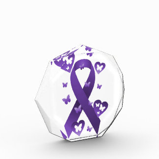 Purple Awareness Ribbon Acrylic Award