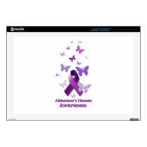 "Purple Awareness Ribbon: Alzheimer's Disease 17"" Laptop Skins"
