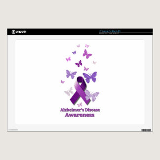 "Purple Awareness Ribbon: Alzheimer's Disease 17"" Laptop Skins"