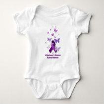 Purple Awareness Ribbon: Alzheimer's Disease Baby Bodysuit