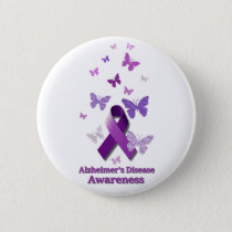 Purple Awareness Ribbon: Alzheimer's Disease Button